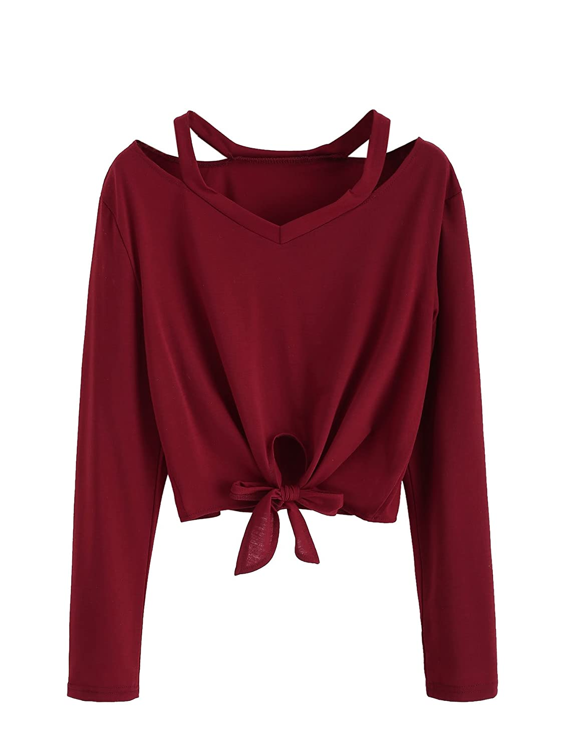 Burgundy SweatyRocks Women's Crop TShirt Tie Front Long Sleeve Cut Out Casual Blouse Top