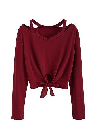8d4a27c9d428ae SweatyRocks Women's Knot Front Tee Long Sleeve Cutout Casual Crop T-shirt  Burgundy S