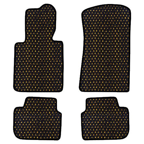 - Furstil Automotive-The Original Coco Mats-Custom Fit Floor Mats Hand-Made in USA for any Make/Model Vehicle Black Yellow Dot-Front and Rear Set-Four Piece