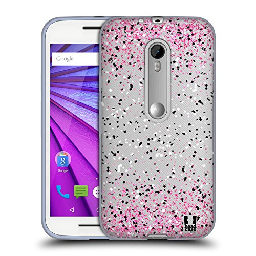 Head Case Designs Pink Confetti Soft Gel Case for Motorola Moto G (3rd Gen) (Head Moto Case G)