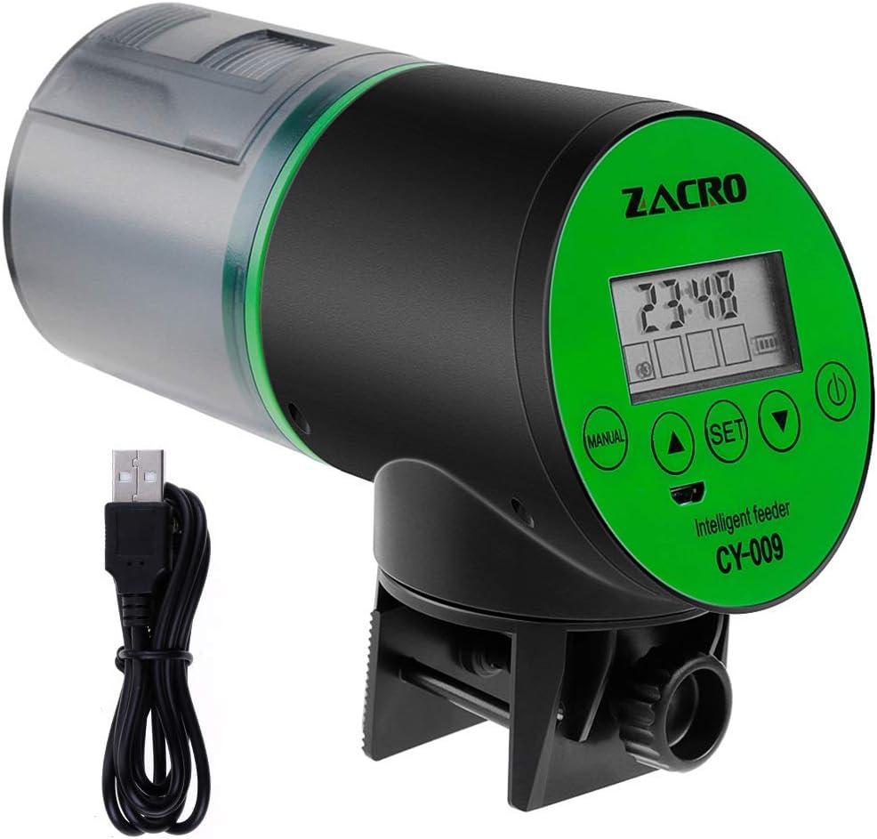 Zacro Alimentatore Automatico di Pesce Dosatore Mangime Automatico per Pesci con Display LCD e Impostazione del Tempo di Alimentazione, Adatto per Acquario, Serbatoio per Pesci