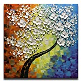 hotel artwork - Asdam Art - Square Tree 3D paintings Hand Painted Framed Oil Painting On Canvas Modern Home Decor Abstract Wall Art For Living Room Bedroom Dinningroom Bathroom Office Hotel Artwork (32x32inch)