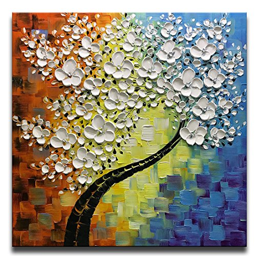 Asdam Art Paintings, White Flower Wall Art Abstract Tree Canvas Painting Home Wall Artwork for Living Room Framed 32x32 Inch from Asdam Art