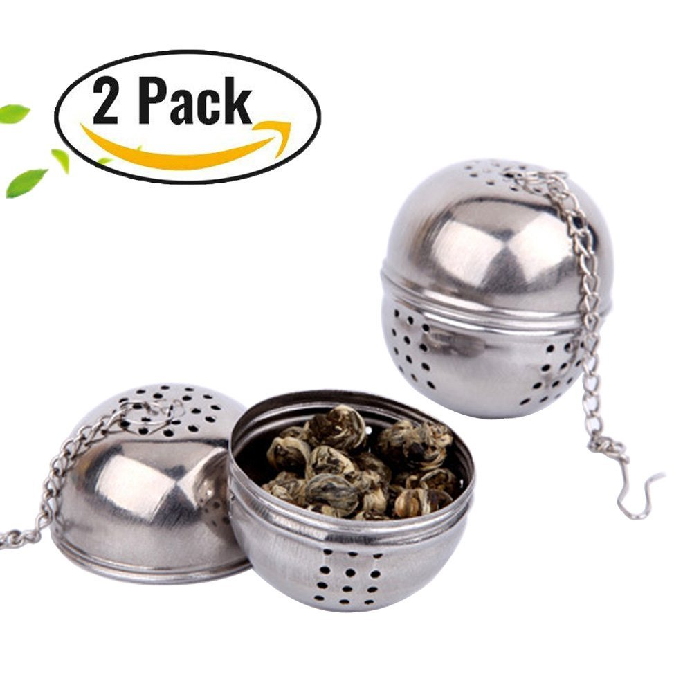 2pack Stainless Steel Tea Infuser,Tea filter,Spice filter,Tea balls,Loose Leaf Strainer-Chain style