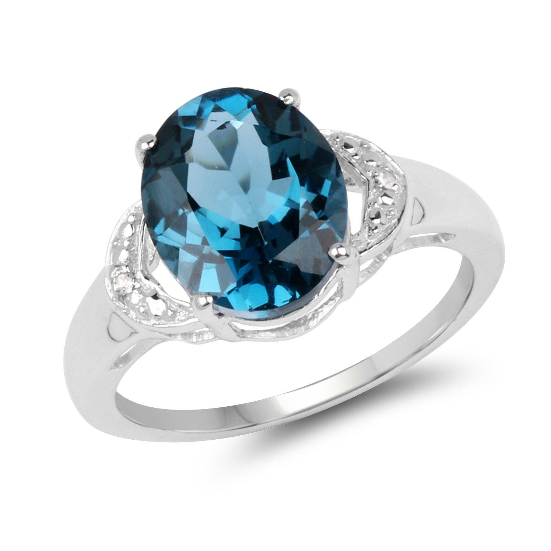4.00 Carat Genuine London Blue Topaz & White Topaz .925 Sterling Silver Ring