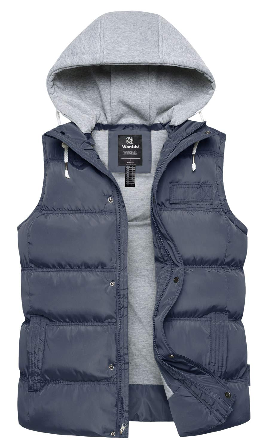 Wantdo Men's Thickened Puffer Vest Outdoor Winter Jacket Sleeveless Grey Small by Wantdo