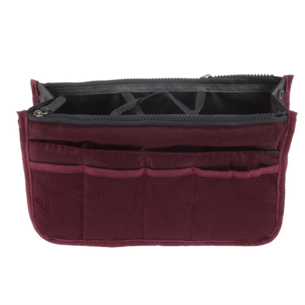 New Organizer Women Travel Bag Purse Handbag Insert Large Tidy Makeup Cosmetic (Wine red)
