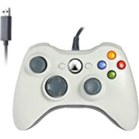 YX® New Style High Quqality Wired Controller Compatible for Xbox 360,Wired USB Game Controller Gamepad Joystick with Shoulders Buttons for Microsoft Xbox & Slim 360 PC Windows PC (White)