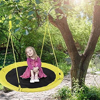 Relaxdays Columpio Jardín Nido de Altura Ajustable para Niños y Adultos, hasta 100 kg, Amarillo, ø 110 cm, Juventud Unisex: Amazon.es: Deportes y aire libre