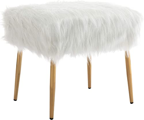 Cheap chairus White Vanity Stool Furry Ottoman Faux Fur Foot Rest Stool Comfy Fluffy Square Ottoman Stool Bedroom ottoman chair for sale