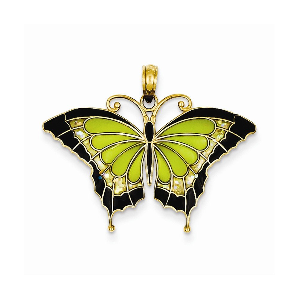 14K Yellow Gold Green Stained Glass Wings Butterfly Pendant with Acrylic