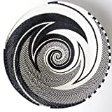 African Zulu woven telephone wire bowl – Large shallow bowl - Black and white - Gift from Africa