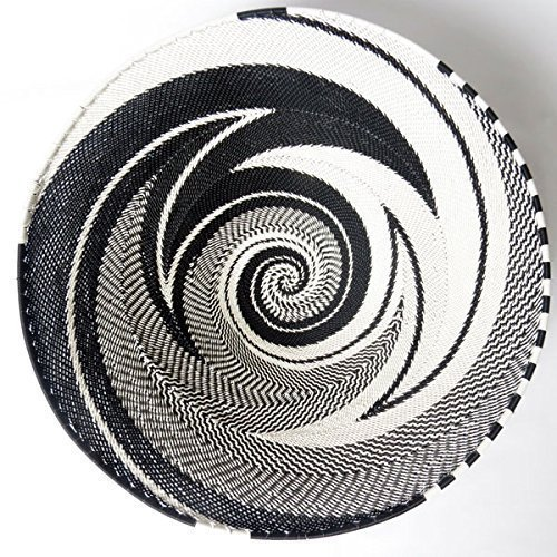 African Zulu woven telephone wire bowl – Large shallow bowl - Black and white - Gift from Africa by Gone Rural - Safari Curios