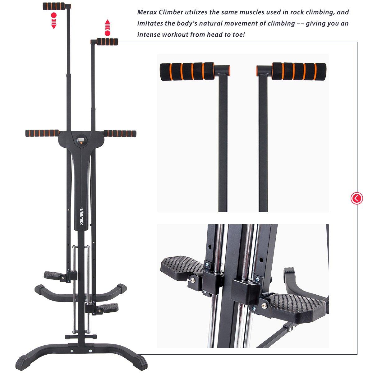 Merax Vertical Climber Fitness Climbing Cardio Machine Full Total Body Workout Fitness Folding Climber 2.0 (Black) by Merax (Image #4)