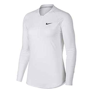 33f358e9 Nike Women's Court Pure Half-Zip Tennis Top White/Black Large at Amazon  Women's Clothing store: