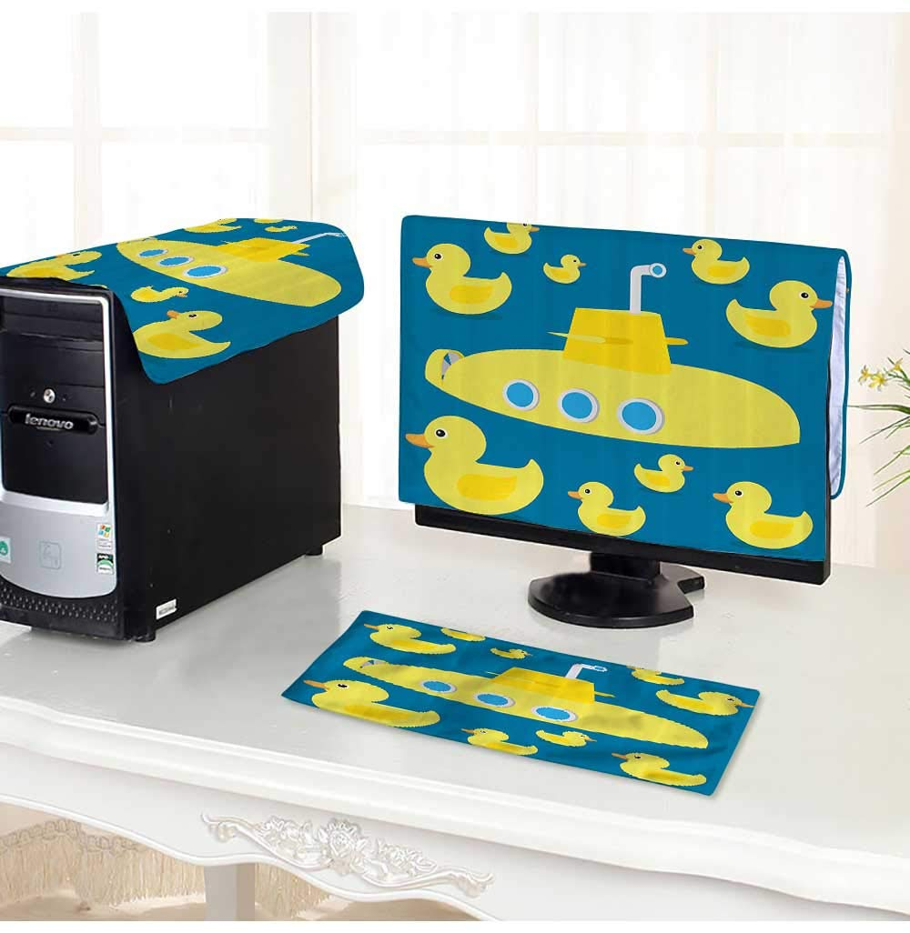 Amazon.com: Leighhome Computer Cover 3 Pieces Duckies Swimming in ...