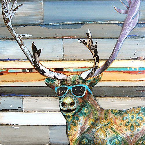 (Cool Caribou - Danny Phillips art print, UNFRAMED, Forest deer antlers sunglasses Inspired funky retro vintage mixed media art wall & home decor poster, ALL SIZES)