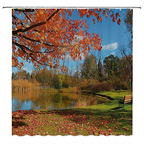 SATVSHOP Fabric-Bathroom-Set-with-Hooks-Landscape-Autumn-Scenery-in-Michigan-USA-Scenic-View-with-TRE-Pond-and-Clear-Sky-Orange-Blue-Green.W108-x-L72-inch]()
