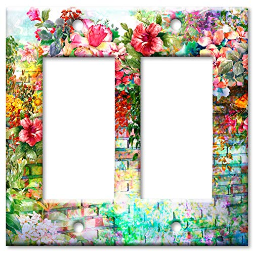 Art Plates Brand Double Gang Rocker (Decora) Switch/Wall Plate - Floral Wall