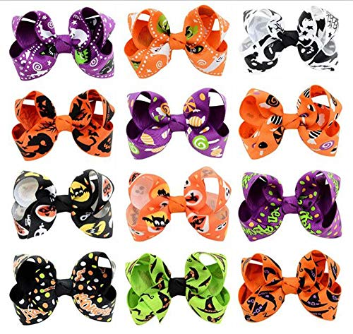 (Hixixi 12pcs/Pack Halloween Bowknot Hair Clips Hair Bows Accessories for Kids Baby Girls (Halloween)
