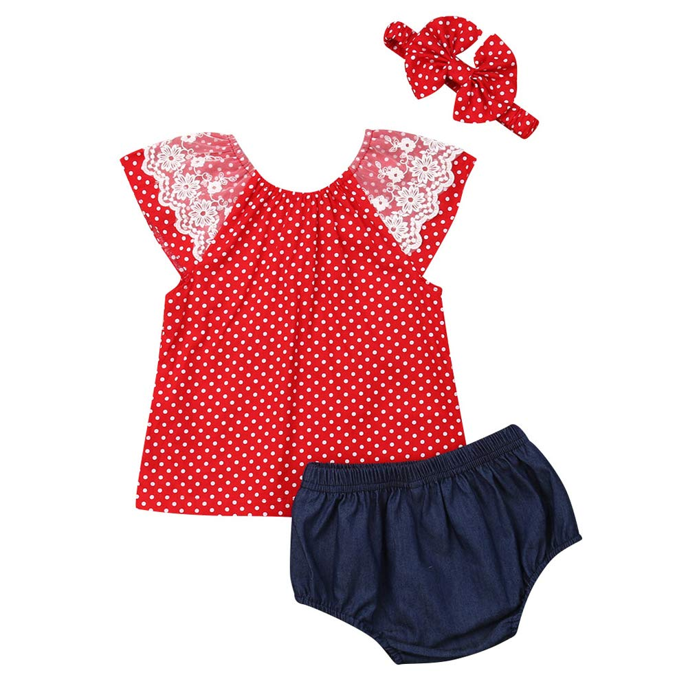 Baby Girl Short Sleeve Lace Red T-Shirt Tops Shorts Pants Summer Short Outfits Sets with Headband