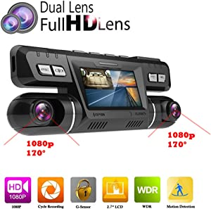 PolarLander WiFi Car DVR Video Vehicle Dash Camera Recorder Novatek 96660 Dashcam Dual Lens Full HD 1080P 170 Degree Black Box Dashboard with GPS Logger