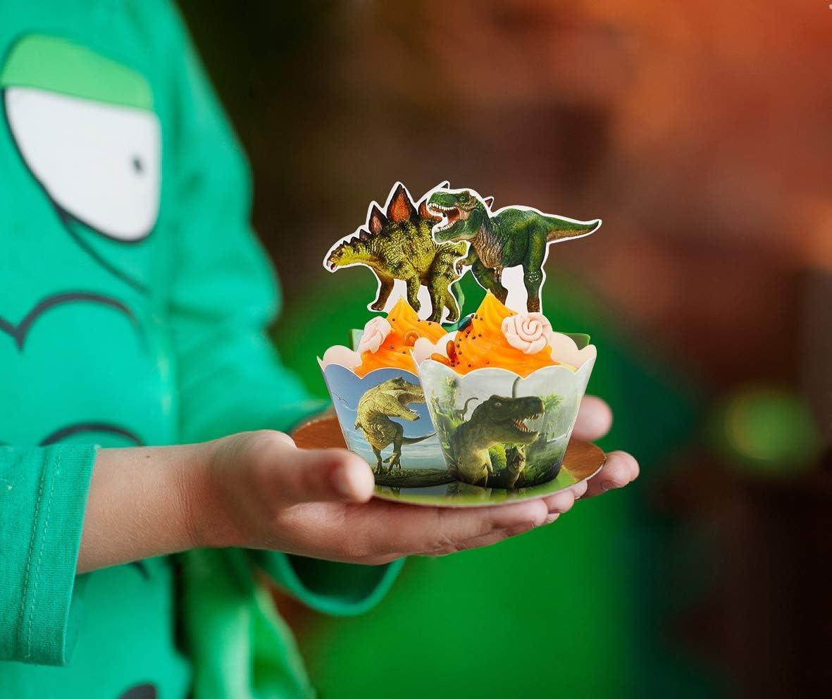 50 pi/èces Dinosaure Cupcake Toppers et Wrappers Dino D/écorations De G/âteau pour danniversaire Enfants Gar/çons Dinosaur Party FANDE Dinosaure Cupcake Wrappers