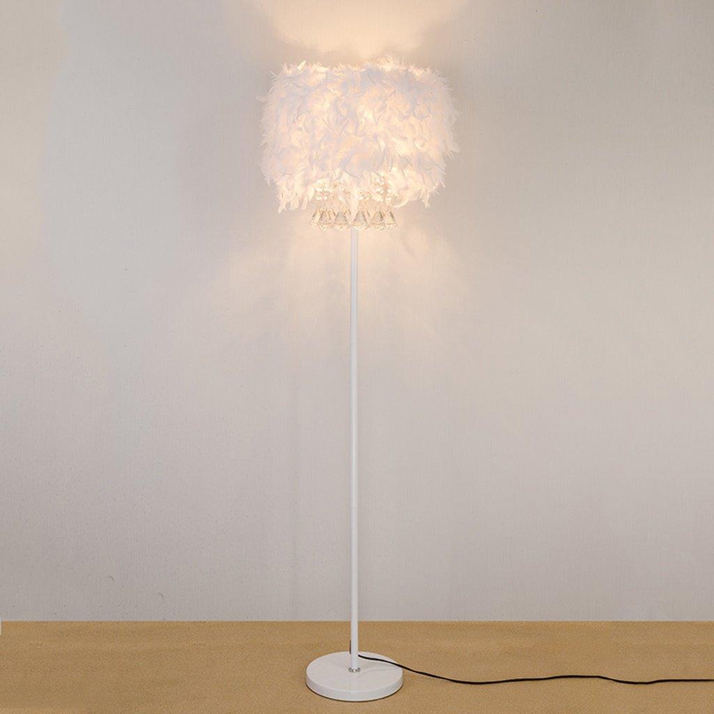 ETERN Crystal Feather Floor Lamp Bedside Lamp Simple Modern Living Room Bedroom Anchor Vertical Desk Lamp Wedding Light by ETERN Floor Lamps