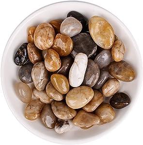 River Rock,Aquarium Pebbles,2.2IB,Decorative Stones Pebbles,Natural Polished Mixed Color Stones -Use in Glassware,Aquariums for Aquariums, Landscaping, Vase Fillers,Terrarium Plants Garden Pebbles