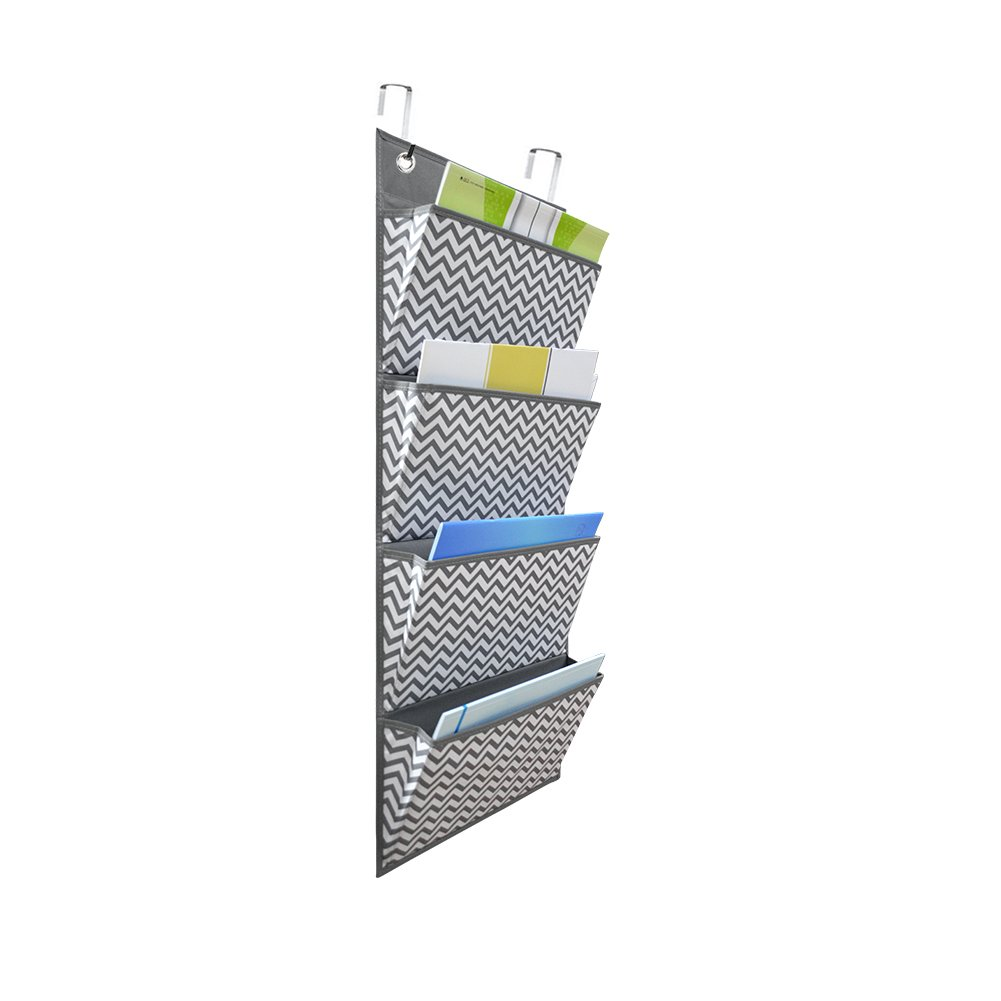 ZKOO Over the Door Hanging File Organizer, Office Supplies Storage Holder Wall Mount Pocket Chart for Magazine,Notebooks,Planners,File Folders,4 Pockets (Black) Wisdom