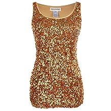 Anna-Kaci Sparkle Shine Glitter Sequin Embellished Tank Top Party Shirt