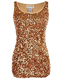 Anna-Kaci Sparkle and Shine Glitter Sequin Embellished Tank Top