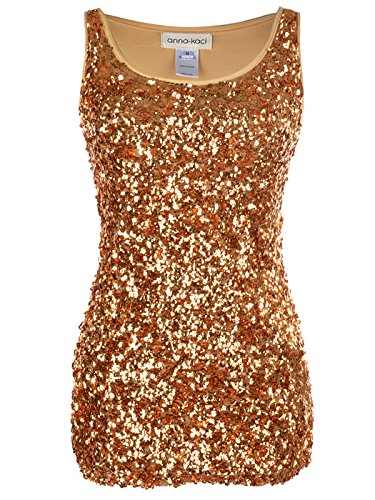 Anna-Kaci Sparkle and Shine Glitter Sequin Embellished Tank Top Gold-L (Gold Glitter Shirt)