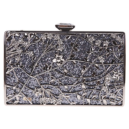Fawziya Floral Handbags For Womens Purse Party Clutches-Gray