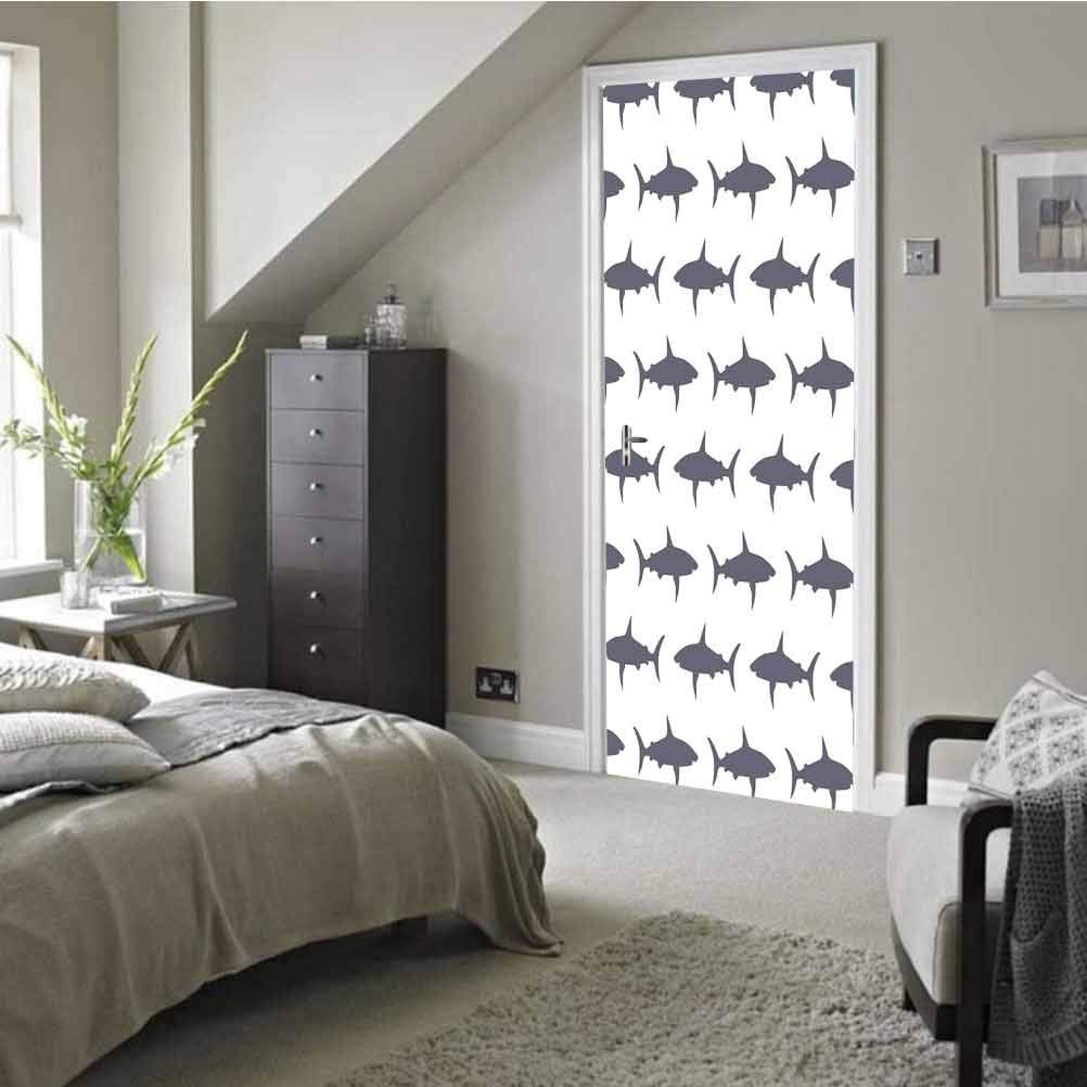 3D Door Stickers Decal Mural Art Sticker, Shark Vector Illustration, Removable Door Wall Mural Door Wallpaper for Home Decorative W30.3 x H78.12 Inch