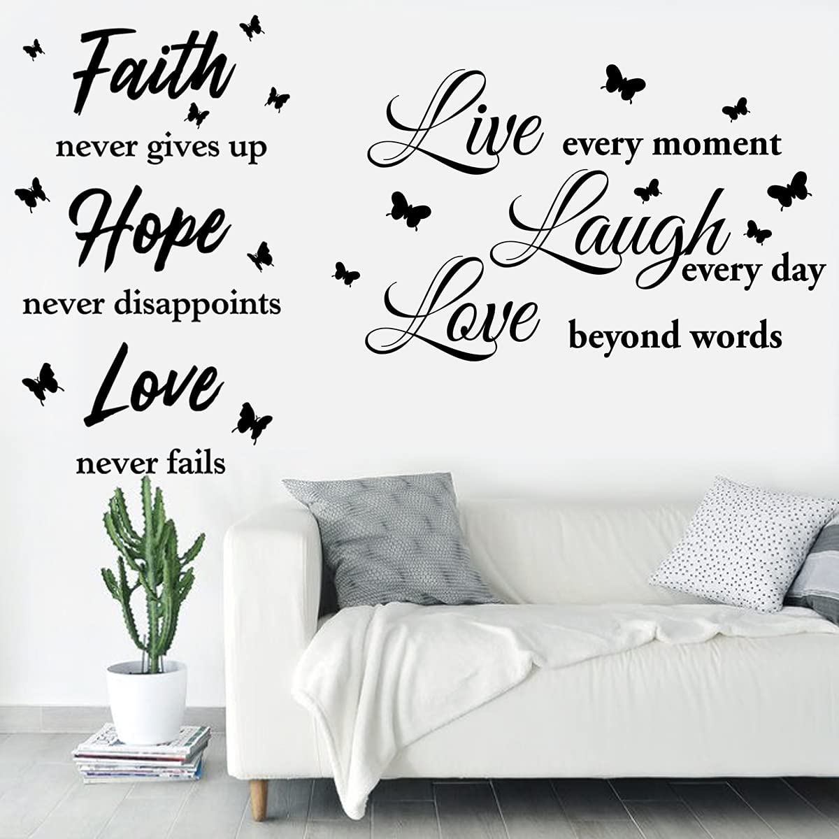 2 Sheets Wall Decor Sticker Quotes Live Every Moment Vinyl Wall Decals Living Room Motivational Vinyl Wall Sticker Christian Quotes Sayings Faith Hope Love for Bedroom Home Decorations.