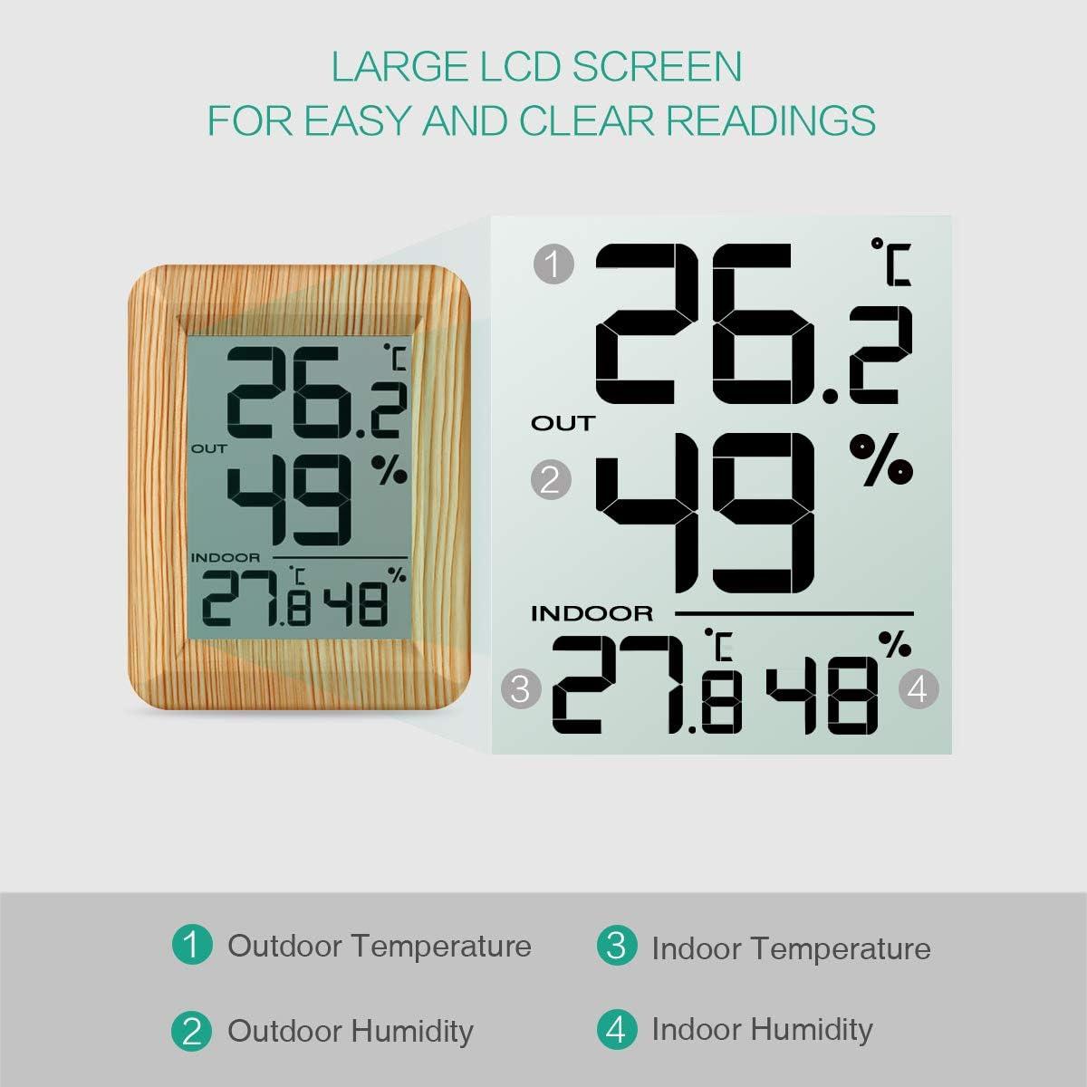 Oria Innen Außen Thermometer Hygrometer Digitaler Thermo Hygrometer Drahtloses Temperatur Feuchtigkeit Monitor Mit Sender Lcd Bildschirm Schalten Ideal Für Zuhause Büro Hölzernes Gelb Elektronik