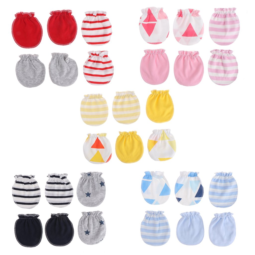 OTGO 3Pairs Fashion Baby Anti Scratching Gloves Newborn Protection Face Cotton Scratch Mittens for 0-12 Month