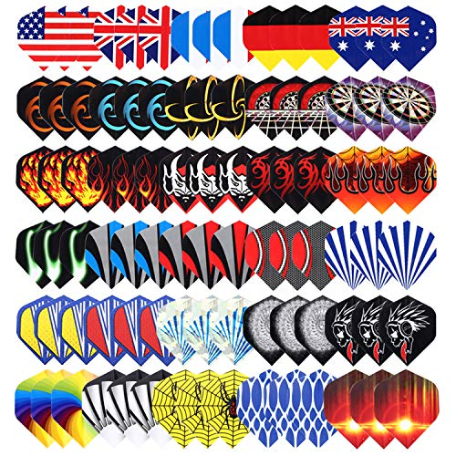 Niubixx Standard Dart Flights 30 Sets 90 Pcs Durable PET and Laser Replacement Feather Tail Wing - Perfect Accessories Equipment Supplies for Dart -