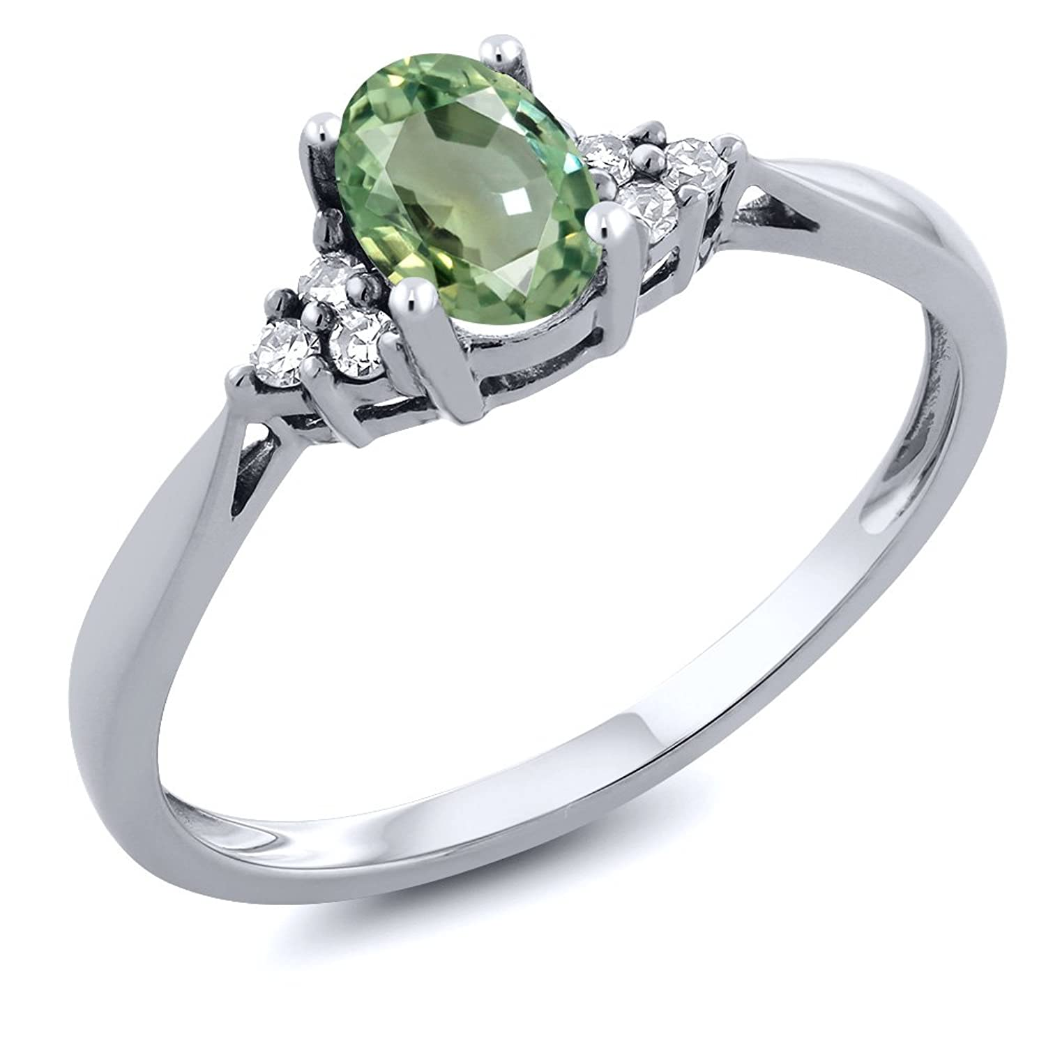 0.55 Ct Oval Green Sapphire and Diamond 14K White Gold Ring