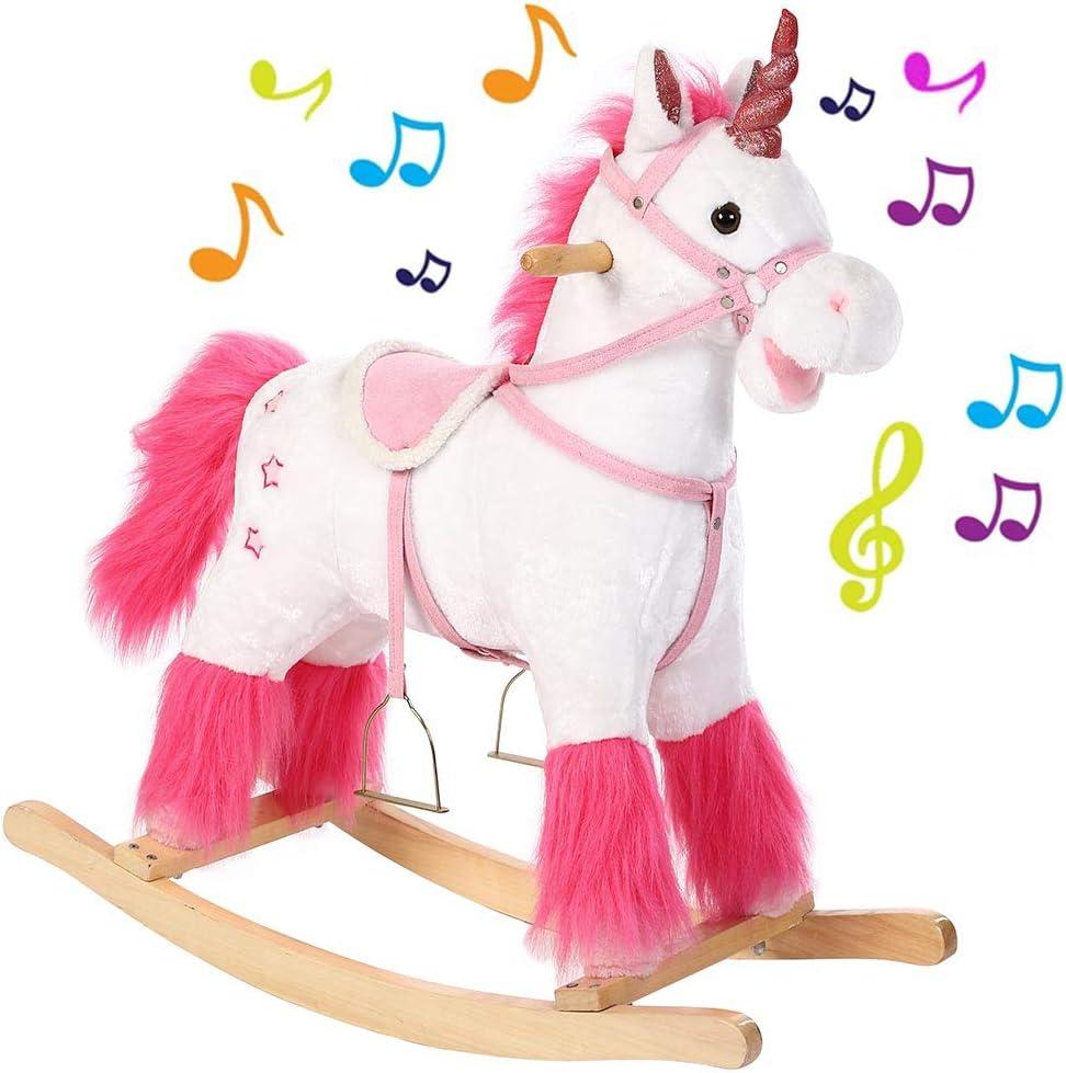BAKAJI Cavallo a Dondolo per Bambini con Suoni Realistici Nitrisce e Muove...