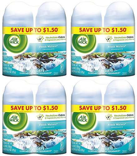 Air Wick sARQZa Freshmatic Refills Automatic Spray, Fresh Waters, 2 Count (4 Pack) by Air Wick