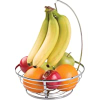 mDesign Decorative Modern Metal Wire Round Fruit Bowl Container with Banana Tree Hanger Holder for Kitchen Pantry, Countertop, Tabletop Storage - Great Table Display for Hosting, Entertaining - Chrome