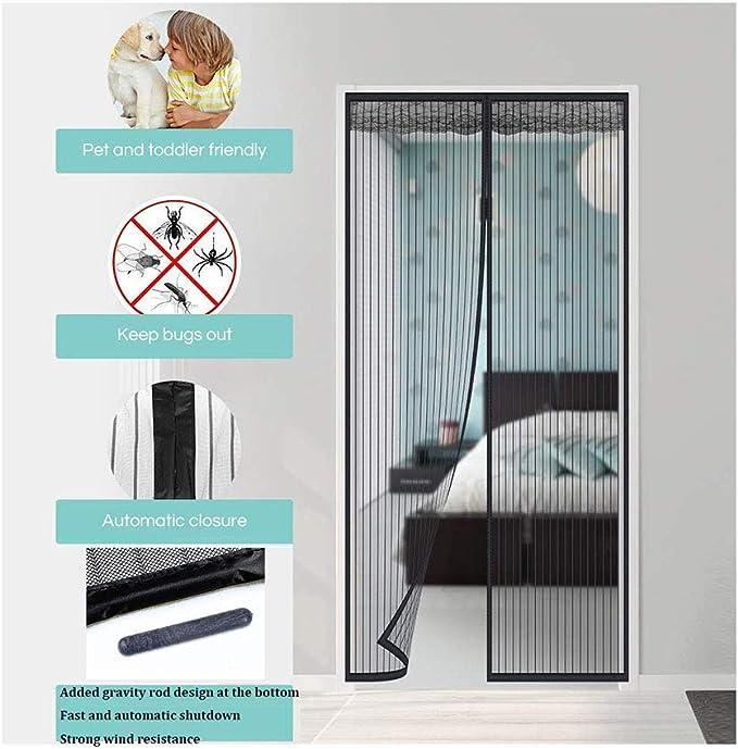 Mampara mosquitera magnética, para puerta, fácil de instalar sin necesidad de taladrar, color negro: Amazon.es: Bricolaje y herramientas