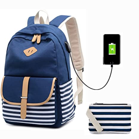d4086a886d37ad Amazon.com: Lightweight School Backpack Canvas Bookbag Student School  Rucksack College Bag Travel Casual Daypacks for Teen Girls (Blue):  Computers & ...