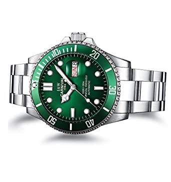 6628ae77bb3 PASOY Men Automatic Mechanical Luminous Dial Green Rotatable Bezel Sapphire  Glass Steel Week Day Watches
