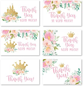 24 Floral Princess Baby Shower Thank You Cards With Envelopes, Kids Thank-You Note, 4x6 Gratitude Card Gift For Guest Pack For Party, Birthday for Girl Children, Cute Pink Royal Queen Event Stationery