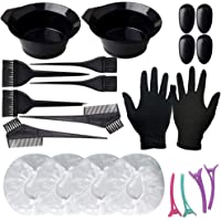 Solustre Hair Dye Coloring Kit with Mixing Bowls Hair Clips Combs Brushes Earmuffs Bathing Hats Latex Gloves Salon Hair Color Dye Tint DIY Tool Set Kit