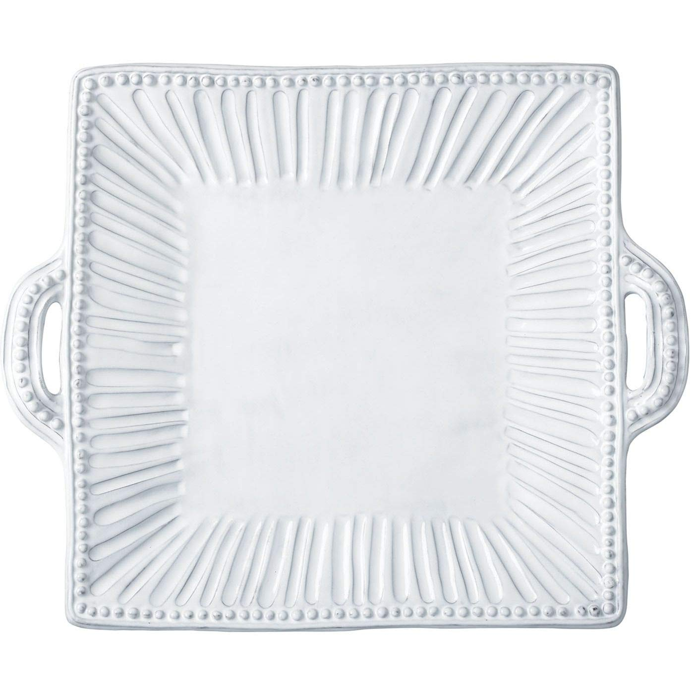 Vietri INC-1128 Incanto Stripe Square Handled Platter White