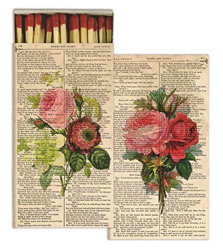 HomArt Large Decorative Romantic Roses Candle and Fireplace Wood Matches (Set of ()
